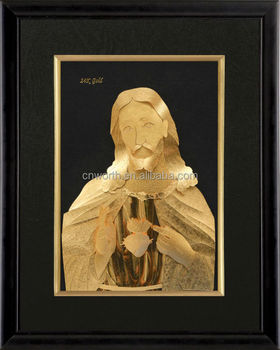 Gold Leaf Frame Picture Religion Style Gold 999 Foil God Pictures