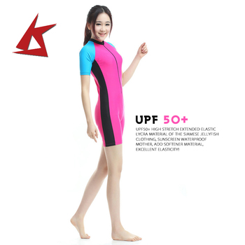UPF 50+ short sleeved ladies sunscreen clothing diving suit