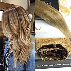 "Sunny Balayage Remy Ombre Easy Weft Hair Extensions 18"" Highlighted Blonde Micro Beads Human Hair Extensions 12"" Width 50gram"