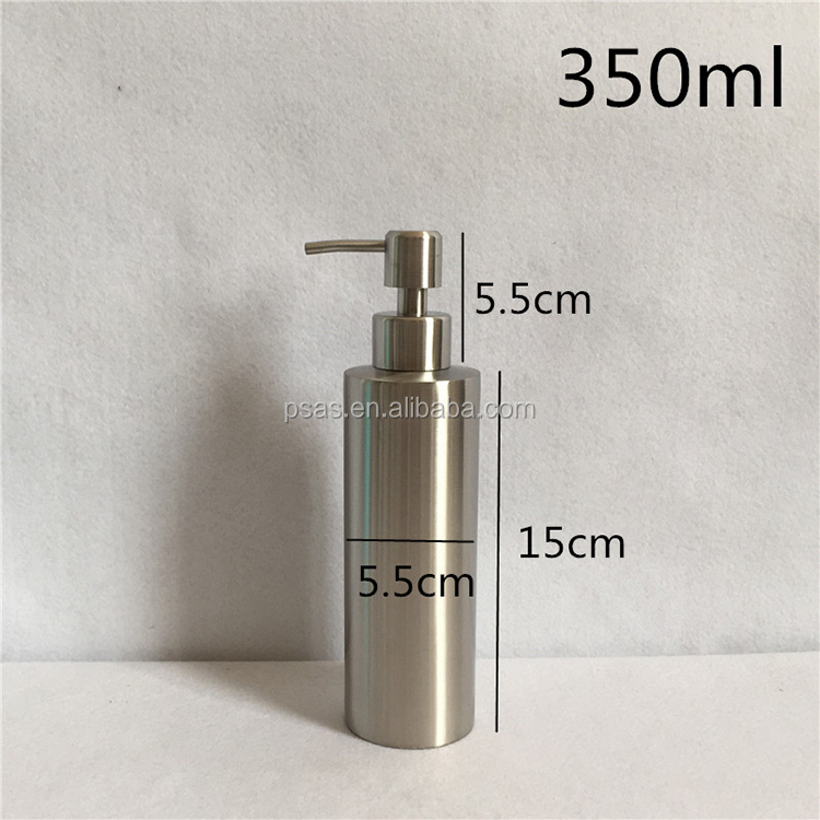 High class 100% stainless steel shampoo lotion bottle with metal pump for hand soap use