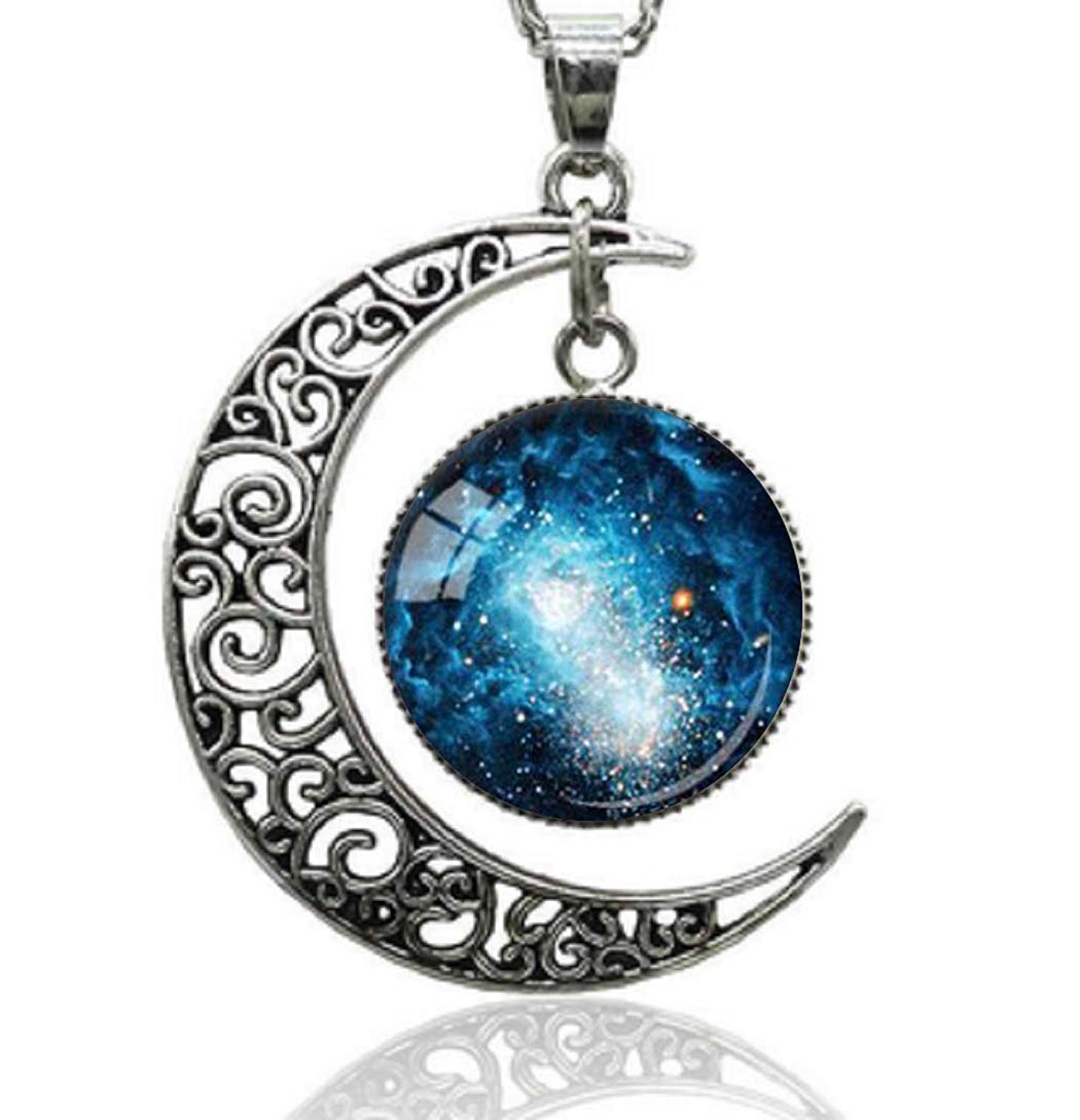 3cbb93ea765d86 Get Quotations · Gemingo Crescent Moon Necklace Silver Glass Dome Galaxy Pendant  Necklace