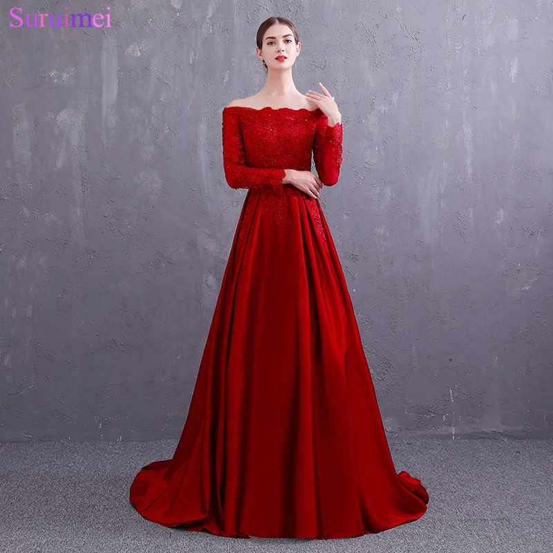 Real Photo Vintage Off The Shoulder Red Evening Dresses Scoop Neck Lace Applique Long Sleeves Evening Gown Satin Prom Dresses
