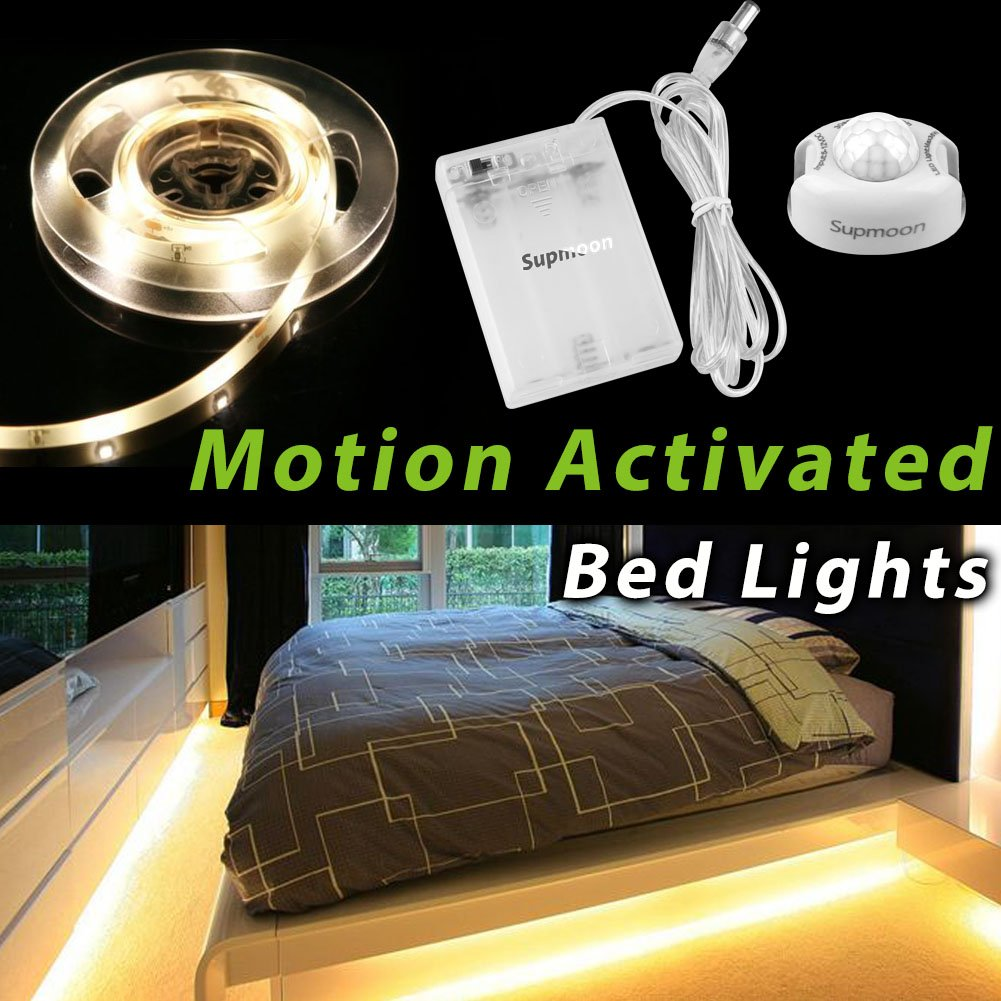 Motion Activated Bed Light, Supmoon Battery/USB Powered LED Strip Motion Sensor Night Light Bedside Lamp with Automatic Off 3000K(Warm White)