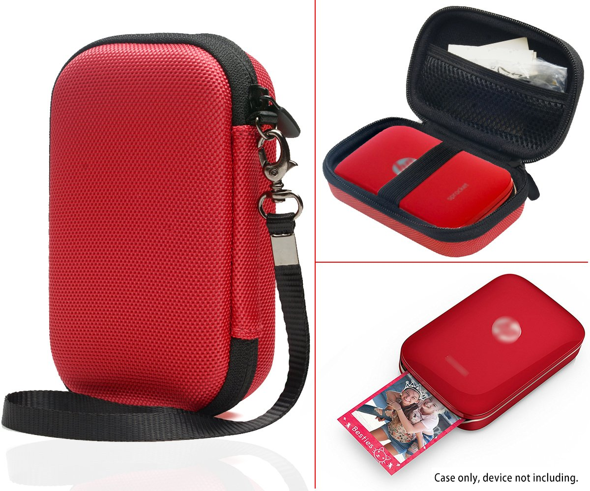 Portable Photo Printer Case for HP Sprocket Portable Photo Printer, Polaroid Zip Mobile Printer, Lifeprint 2x3 Photo and Video Printer, Mesh Pocket for Photo Paper and Cable (Polyester Red)