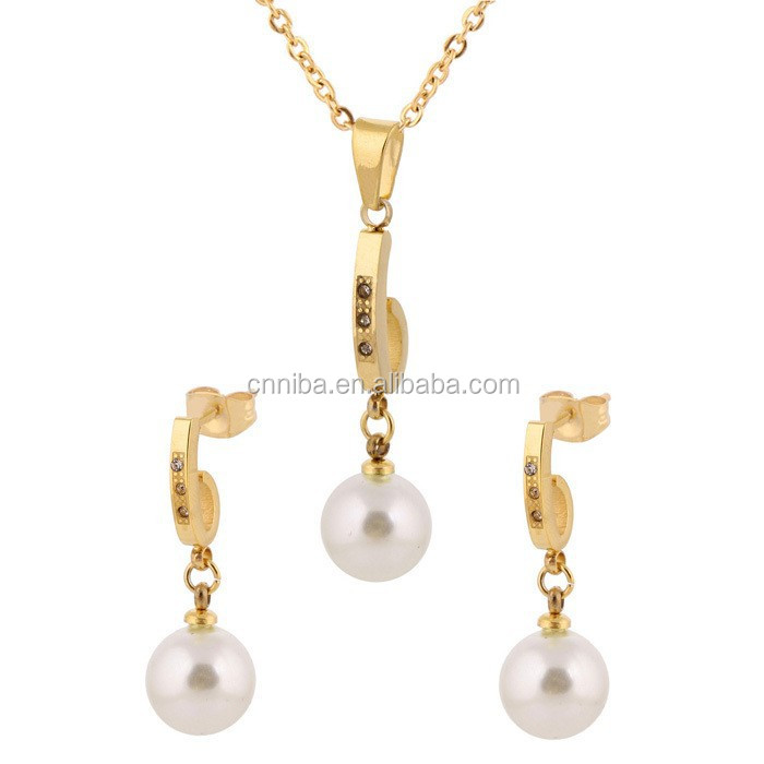 Wedding Bride Jewelry <strong>Set</strong> NIBA Gold Plated White Stainless Steel Pearl Jewelry <strong>Set</strong>