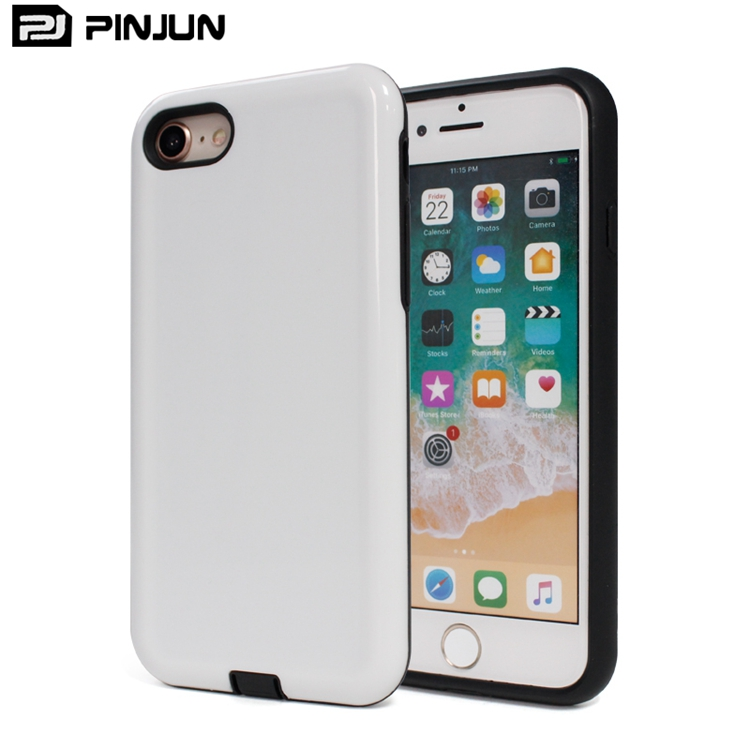 2 in 1 pc+tpu sublimation blank white body custom material phone cover for iphone 8,for iphone 7 8 case oem