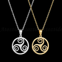 Gold Silver Stainless Steel Hollow Round Triskele Necklace The Movie Teen Wolf Triskelion Pendant Necklace for Men