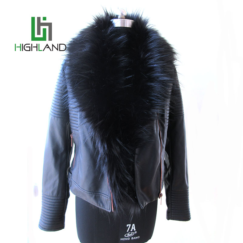 Customized wholesale leather motorcycle jacket winter jackets for ladies faux fur coat