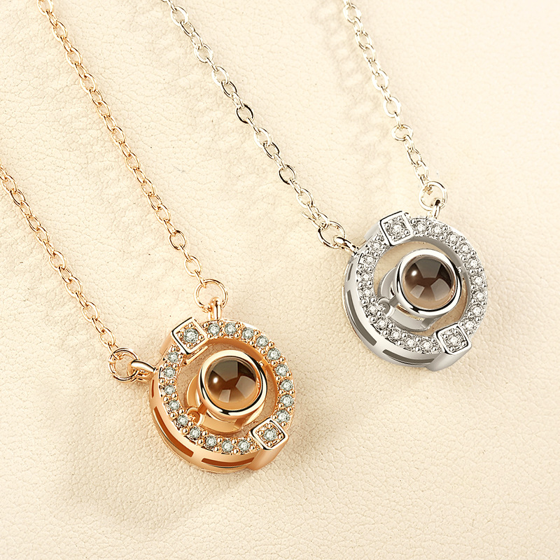 2018 New Arrival Rose Gold <strong>Silver</strong> 100 languages I love you Projection Pendant Necklace Romantic Love Necklace D020-7