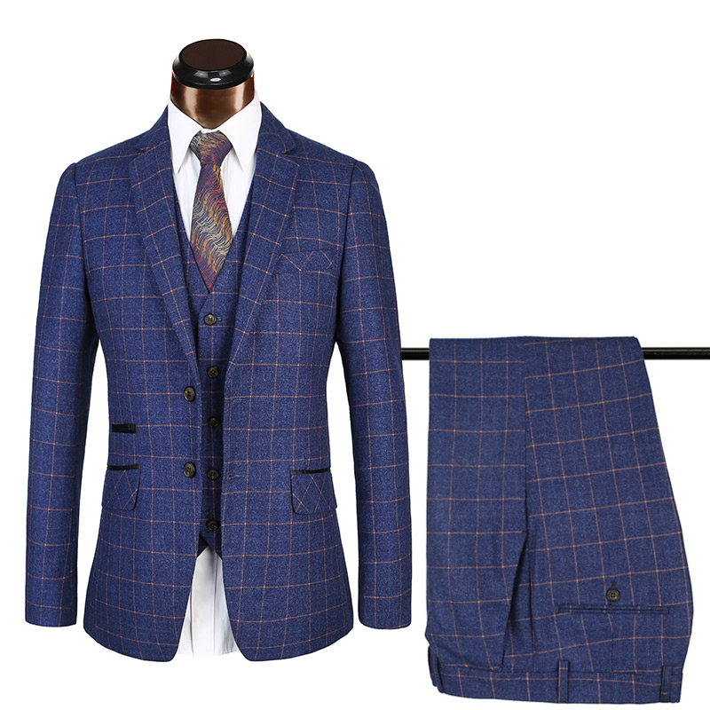 England Gentlemen Tweed Slim Fit suit for men 3 Piece Plaid Checked Business Men Suit
