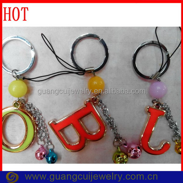 Customized colorful acrylic letter j keychain O B key chain with bell