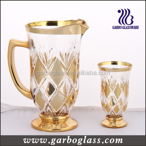 7pcs Gold Plating Engraved Glass Drinking Set,Nice Designed Middle ...