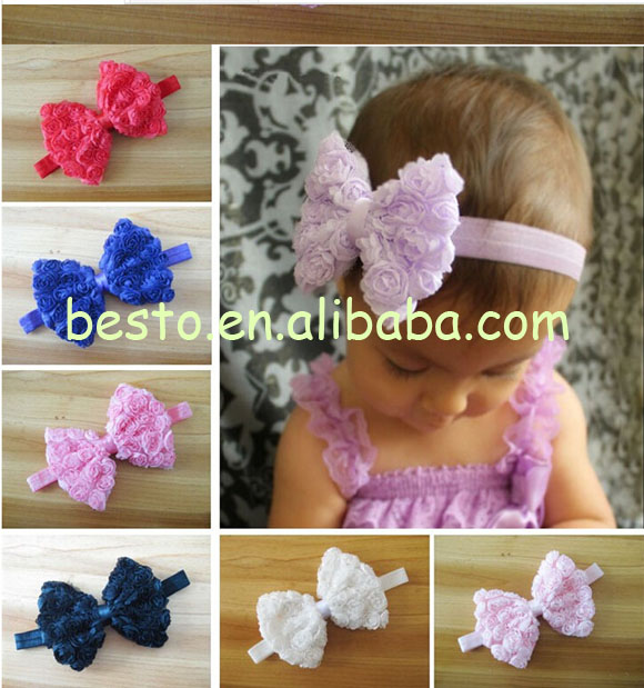 CF 0772 Girls hair accessories elastic fancy vintage lace flower baby headband