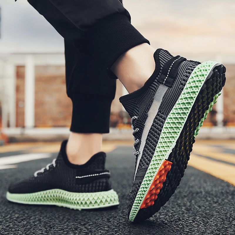 Fly-knitted Mesh Upper Fashion Sneakers For Men 4D Printed Outsole Casual Men's Shoes Sport Running Shoe Breathable Lightweight