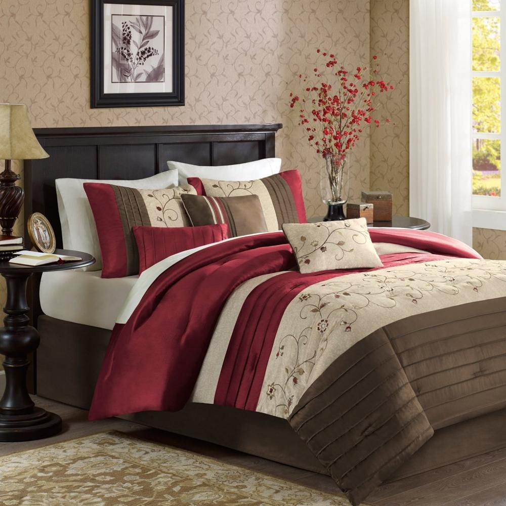 King Size Bed Comforter Set Bed Red,Embroidered Bedding Sets Faux Silk  Bedroom Comforters - Buy King Size Bedding Set,Woven Cotton Fabric,Luxury  Hotel ...