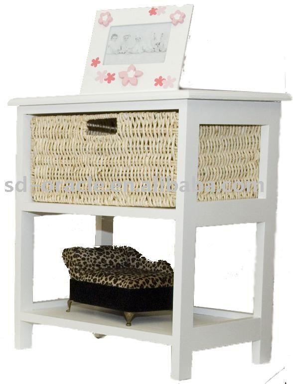 table en bois avec tiroir en osier tables de chevet id de produit 238518368. Black Bedroom Furniture Sets. Home Design Ideas