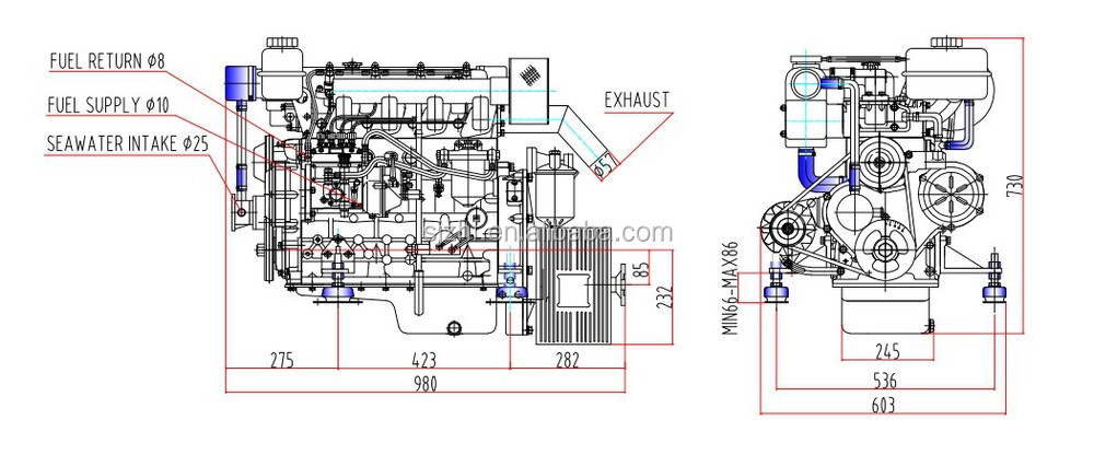 Hf490m 60hp Motor Boat Electric Inboard Boat Marine Engines For – Diagram Of Inboard Boat Engine