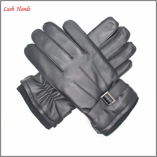 Men's black dress leather gloves with metal decorated