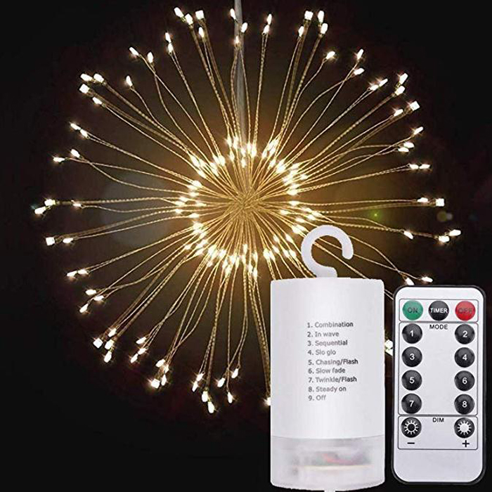 8 modes Hanging Battery Powered dimmable Copper Wire Twinkle LED fairy string lights with remote control for holiday decoration