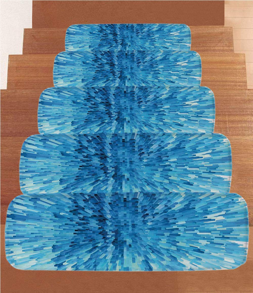 """iPrint Non-Slip Carpets Stair Treads,Navy Blue Decor,Creepy Digital Mosaic Patterns and Extending Blocks Abstract Rococo Graphic Living,Dark Navy Blue,(Set of 5) 8.6""""x27.5"""""""