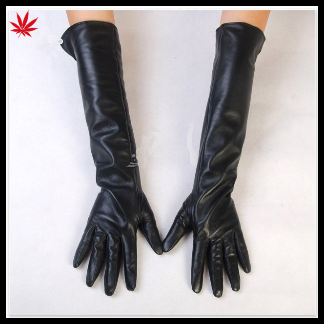 Women fashion dress long black leather gloves made with button