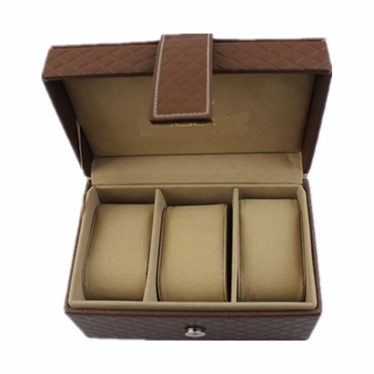 Black Pu Leather 4 Grids Slot Watch Box Display Case Gift