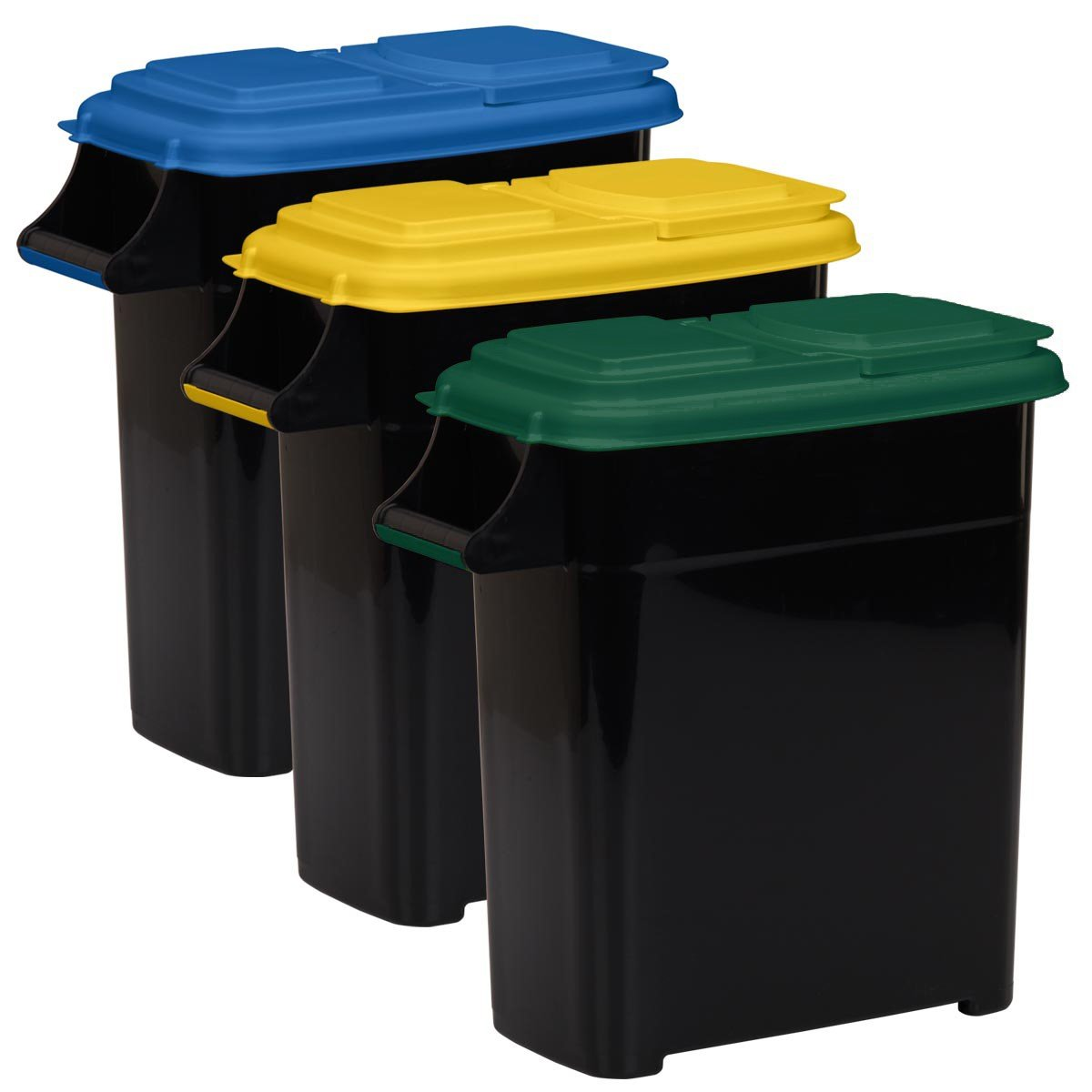 Buddeez Recycling Containers with Color Coded Lids, 4-Gallon/16-Quart, 3-Pack