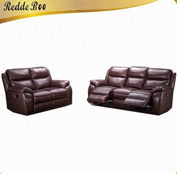 Home Furniture Royal Half Genuine Leather Recliner Sofa Single Fabric