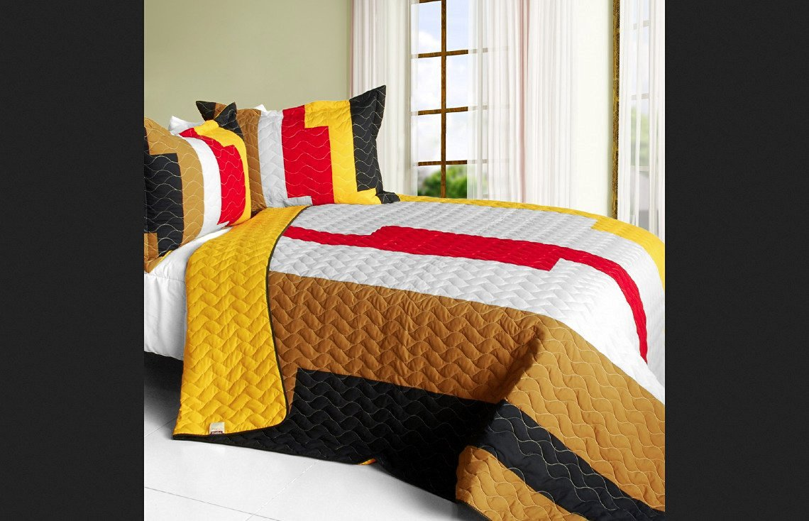 Blancho Bedding Full/Queen Classic Playbook - B Vermicelli-Quilted Patchwork Striped Quilt Set