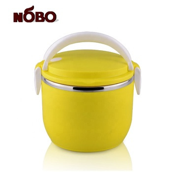 Yellow color stainless steel food warmer lunch box for school office home use
