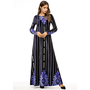 New Model Abaya dress women in Dubai Beautiful Flower Embroidery Malaysia Cotton Long Dress