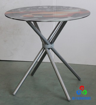 Cheap Glass Metal Base Round Coffee Table Meeting Reception Table For Sale