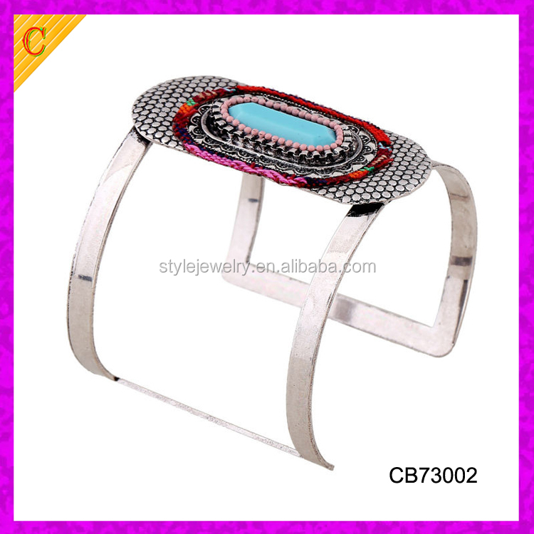 CB73002 Punk Metal Vintage Curved Jewelry Long Wide Cuff Bracelet Antique Bangle