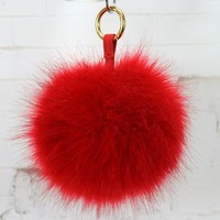 10 cm 12cm 15cm Handmade fake fur ball fox fur balls fur pompoms keychain with leather strap for bag