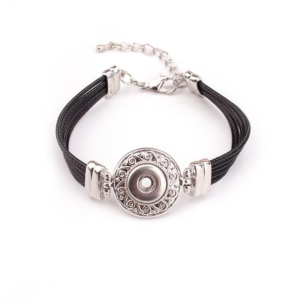 Snaps Black Leather Bangle Bumpy Bracelet Wholesale Snap ...