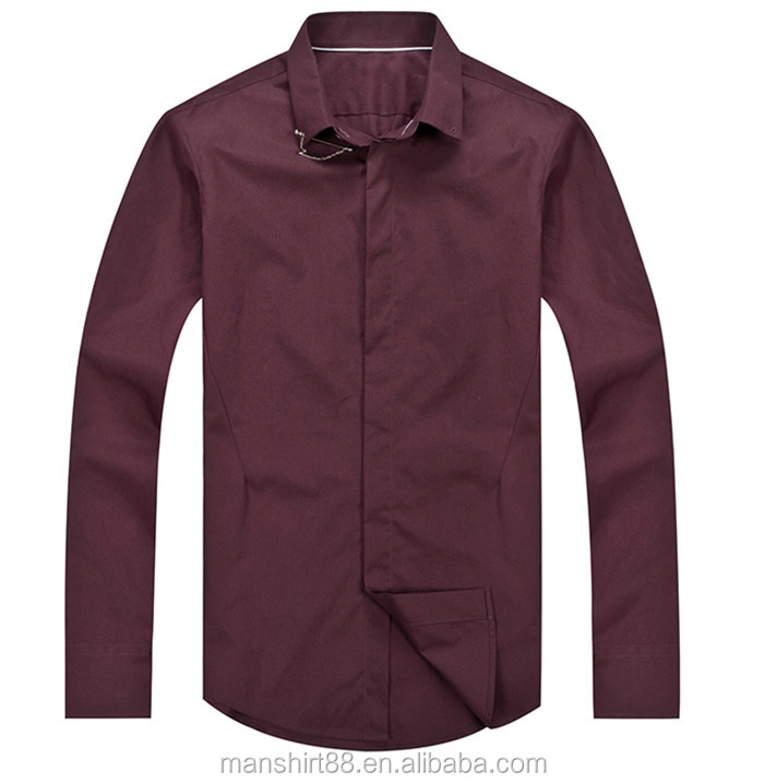 Stylish Dress Design Pin Collar Shirts For Men Slim Fit Long Sleeve Men Casual Clothing