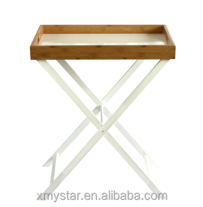 Custom bamboo tray table with stand folding bamboo serving table