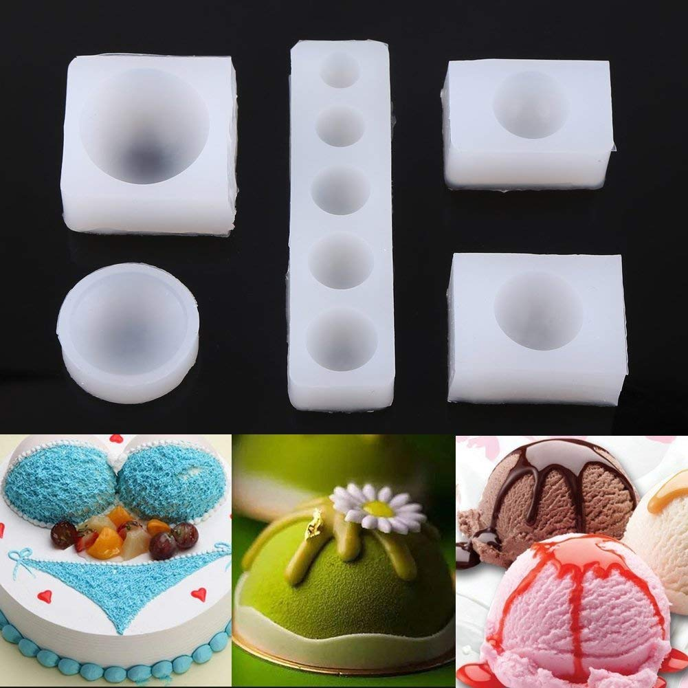 Silicone Cake Mold,5Pcs/Set Creative DIY Half Round Cabochon Silicone Mold Mould For Epoxy Resin Jewelry Making Tools