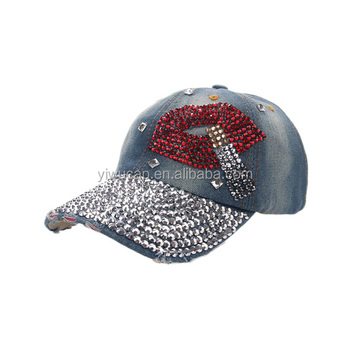 07d64e75de5fe China wholesale high quality washed jean rhinestone caps and hats red lips  pattern worn-out