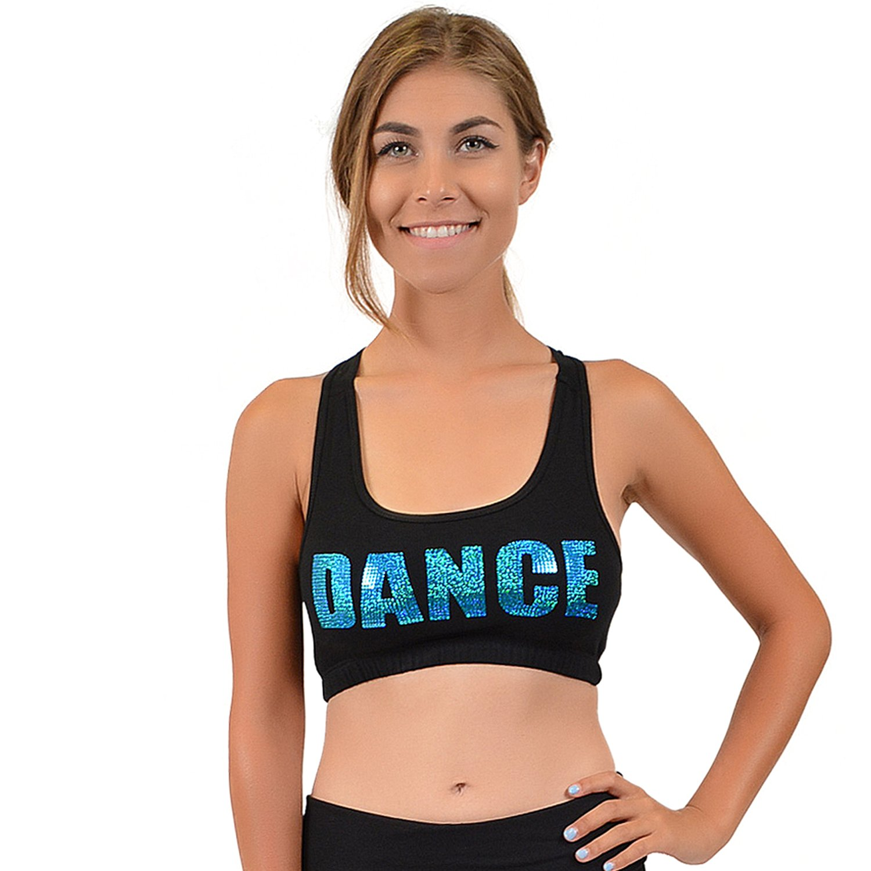 a87eb192adee0 Stretch is Comfort Women's Teamwear Glitter Cotton Dance Sports Bra