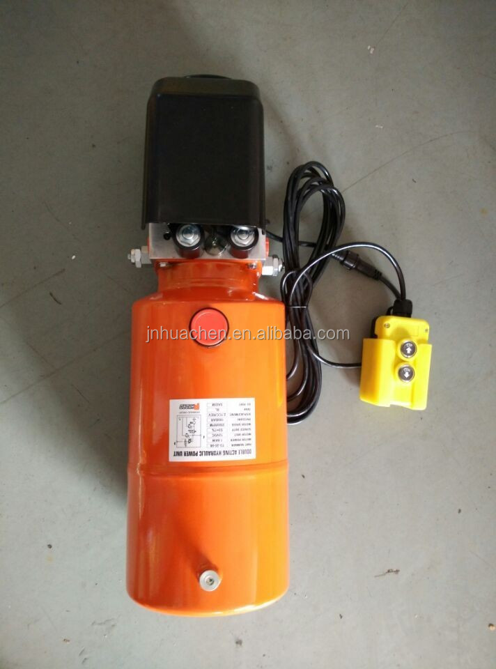 Single Acting DC Hydraulic Power Unit Orange color Steel Tank for Agricultural Machines