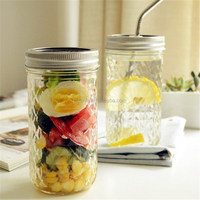 Glassware item of home&garden pressed diamond drinking glass tumbler with silver lid and straw