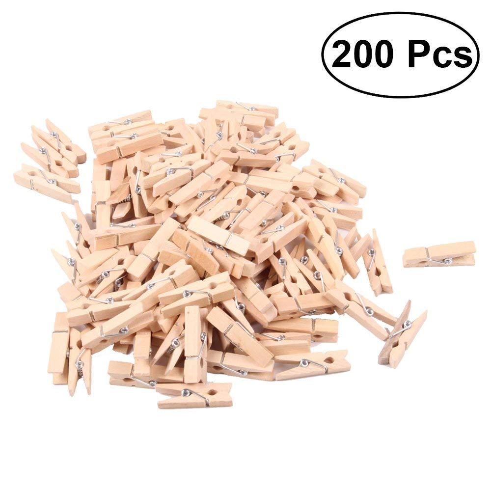 BESTOYARD 200pcs Mini Wooden Pegs Photo Paper Craft Clips Laundry Clothespins