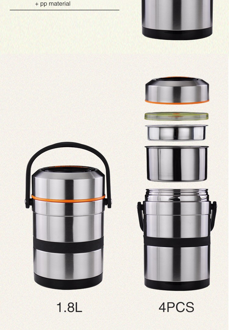 High qulity 1.8L/2.6L stainless steel food vacuum lunch box/ Thermos food jar lunch pot