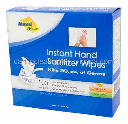 Instant Hand Sanitizer Wipes kill 99.99% of Germs