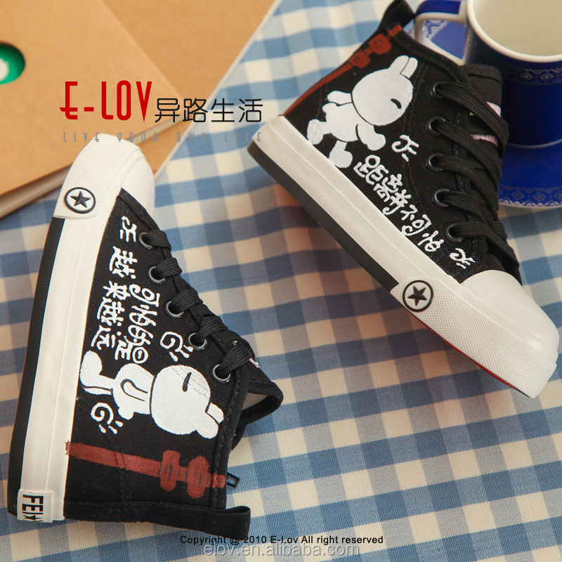 NO.XZ0022Hand-printed Hot sales high quality slip on canvas modern boys shoes