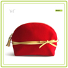 Best selling wholesale promotional fashion elegant cosmetic red velvet pouch bag