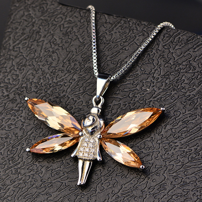 NHA3537 Huilin Jewelry angel pendant Necklace 18K white gold plated zircon Necklace