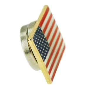 Wholesale custom US gold square metal magnetic flag lapel pin