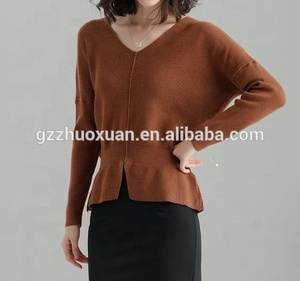 brown long sleeve knitted women sweater v-neck computer knitted sweater